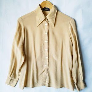 Vintage 70s Sulka Tan Italian Silk Button Up Shirt
